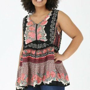 Angie Tank Top Floral Boho Peasant Plus Size